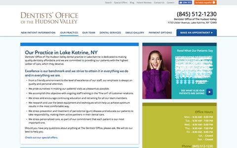 Screenshot of Hours Page thedentistsoffice.com - Our Dental Practice - Dentists' Office of The Hudson Valley Lake Katrine NY - captured July 2, 2018