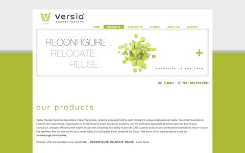 Screenshot of Products Page versiastorage.com - versia storage systems Phoenix, AZ storage solutions | filing solutions | modular solutions - Our Products - captured Oct. 18, 2018