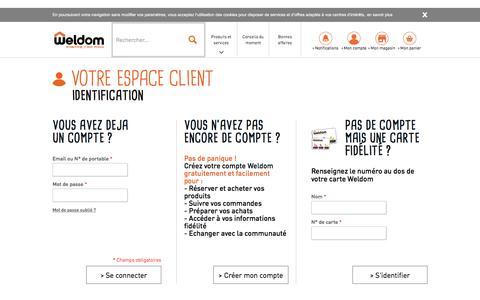 Screenshot of Login Page weldom.fr - Identifiant client - captured Dec. 4, 2016