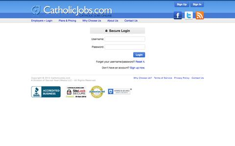 Screenshot of Login Page catholicjobs.com - CatholicJobs.com - Catholic Jobs Online - captured Oct. 2, 2014