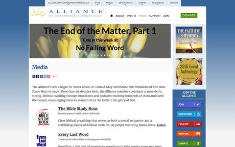 Screenshot of Press Page alliancenet.org - Media | Alliance of Confessing Evangelicals - captured March 31, 2016