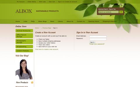 Screenshot of Login Page albox.com.au - Albox Sustainable Products - Sign in - captured Oct. 4, 2014