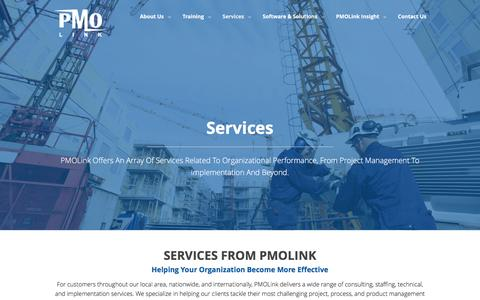 Screenshot of Services Page pmolink.com - Project Scheduling & Staffing, Consulting, & Technical Services - captured Oct. 16, 2016