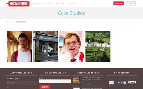 Screenshot of Case Studies Page messagehero.com - Case Studies - captured Oct. 29, 2014