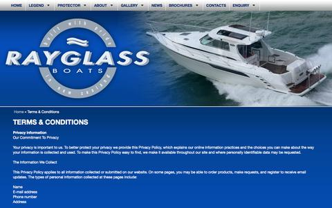 Screenshot of Terms Page rayglass.co.nz - Rayglass Boats - Legend & Protector Boat Sales and Service & Parts Centre in Auckland, New Zealand : Terms & Conditions - captured Oct. 26, 2014