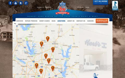 Screenshot of Locations Page herbspaintandbody.com - Auto Body Shops Dallas/North Texas Locations - Herb's Paint & Body - captured Aug. 10, 2017