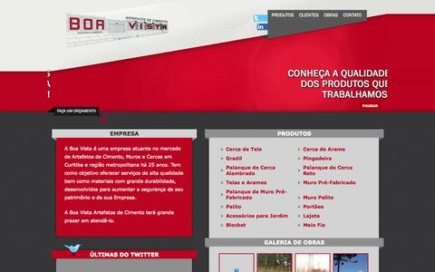 Screenshot of Home Page boavistaartefatos.com.br - Boa Vista - Artefatos de Concreto - captured Oct. 5, 2014