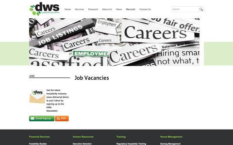 Screenshot of Jobs Page dws.net.au - Jobs | DWS - captured Oct. 7, 2018