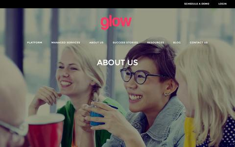 Screenshot of About Page thisisglow.com - About Us | Glow - captured Jan. 30, 2016