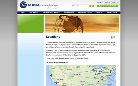 Screenshot of Locations Page graphiccommunications.com - Graphic Communications Locations for Paper, Printing & Packaging Services - captured Sept. 30, 2014