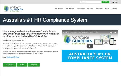 Screenshot of Pricing Page workforceguardian.com.au - Australia's #1 HR Compliance System - Workforce Guardian - captured Sept. 20, 2018