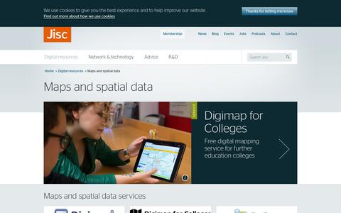 Screenshot of Maps & Directions Page jisc.ac.uk - Maps and spatial data | Jisc - captured May 19, 2016