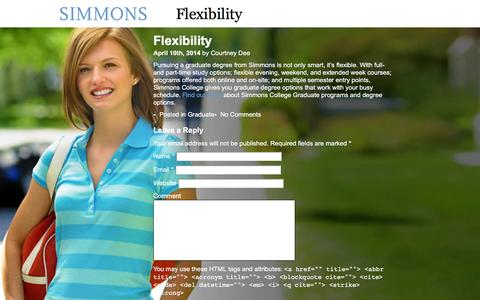 Screenshot of Landing Page simmons.edu - Flexibility  |  Simmons College - captured Feb. 26, 2016