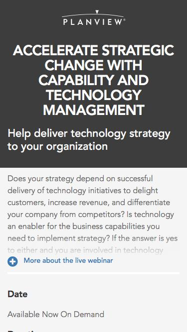 Accelerate Strategic Change with Capability and Technology Management
