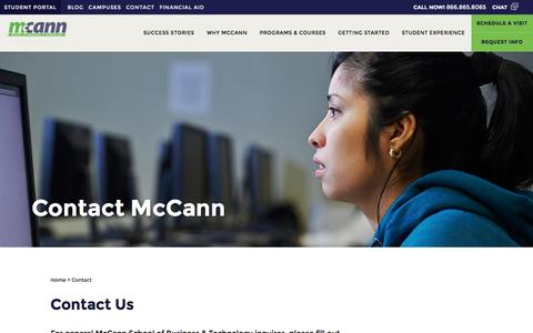 Screenshot of Contact Page mccann.edu - Contact Us | McCann School of Business & Technology - captured Nov. 18, 2016