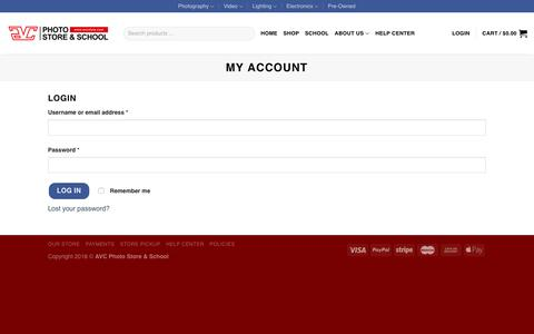 Screenshot of Login Page avcstore.com - My Account – AVC Photo Store & School - captured Dec. 18, 2018