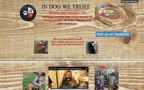 Screenshot of Home Page in-dog-we-trust.com - In Dog We Trust, Service dogs San Antonio, TX - captured March 9, 2016