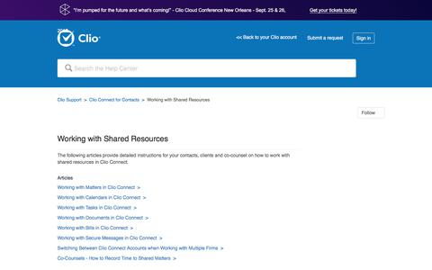Screenshot of Support Page clio.com - Working with Shared Resources – Clio Support - captured Sept. 21, 2017