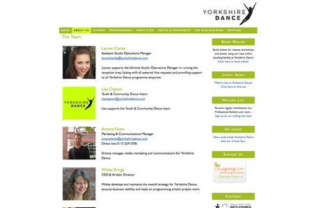Screenshot of Team Page yorkshiredance.com - The Team — Yorkshire Dance - captured Oct. 9, 2014