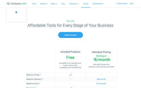 Screenshot of Pricing Page company.com - Pricing - captured Nov. 8, 2018