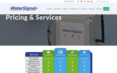 Screenshot of Pricing Page watersignal.com - Pricing for Leak Detection and Water Monitoring Services   WaterSignal - captured Sept. 20, 2018