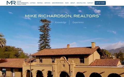 Screenshot of Home Page mrrealtors.com - Santa Barbara Real Estate and Property Management Experts | Mike Richardson, Realtors - captured Feb. 13, 2016