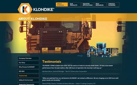 Screenshot of Testimonials Page klondikelubricants.com - Testimonials | Oils, Lubricants & More | KLONDIKE - captured Oct. 16, 2017