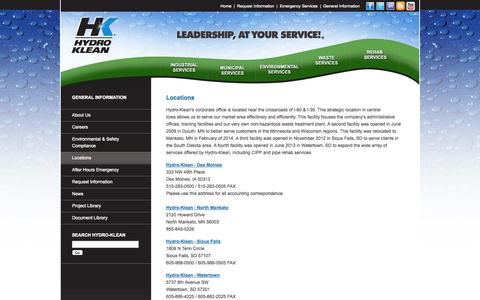 Screenshot of Locations Page hydro-klean.com - Industrial Cleaning: Des Moines, IA; Duluth, MN, Sioux Falls, SD - captured Oct. 3, 2014