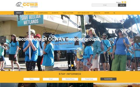 Screenshot of Home Page ccwa.org.au - Conservation Council of Western Australia - captured May 20, 2016