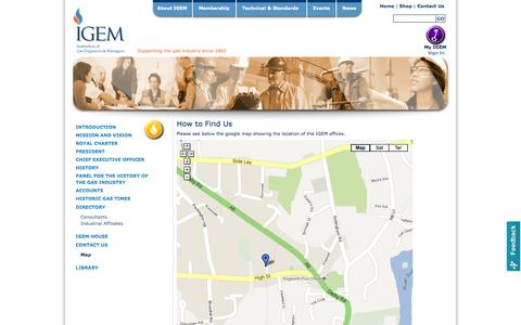 Screenshot of Maps & Directions Page igem.org.uk - IGEM, gas safety, industry, gas, promoting gas safety in the home and industry - Map - captured Oct. 31, 2014