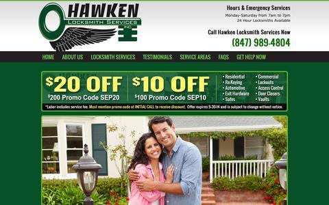 Screenshot of Testimonials Page hawkenlocksmithservices.com - Local Locksmiths | Licensed, Professional, Reliable Locksmith Services - captured Sept. 29, 2014