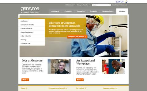 Screenshot of Jobs Page genzyme.com - Genzyme.com: Careers - captured Sept. 24, 2014