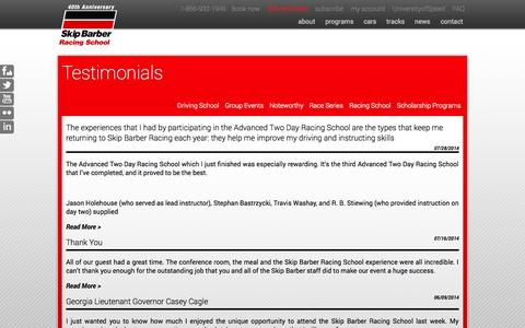 Screenshot of Testimonials Page skipbarber.com - Testimonials «  Skip Barber Racing School - captured Oct. 9, 2014