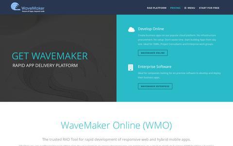 Screenshot of Pricing Page wavemaker.com - Get Started with RAD Tools - WaveMaker - captured Jan. 18, 2016