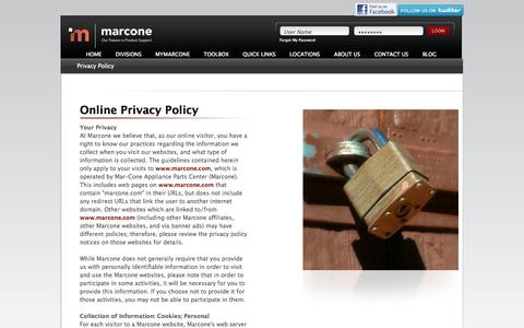 Screenshot of Privacy Page marcone.com - Privacy Policy - captured Oct. 27, 2014