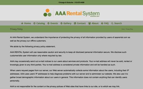 Screenshot of Privacy Page aaarental.com - Privacy Policy - AAA Rental System - captured May 28, 2017