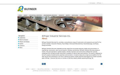 Screenshot of About Page bilfinger.com - About - Bilfinger Industrial Services Inc. - captured Sept. 23, 2014