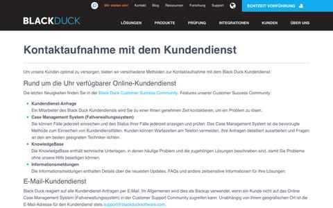 Screenshot of Support Page blackducksoftware.com - Kontaktaufnahme mit dem Kundendienst | Black Duck Software - captured Sept. 18, 2017