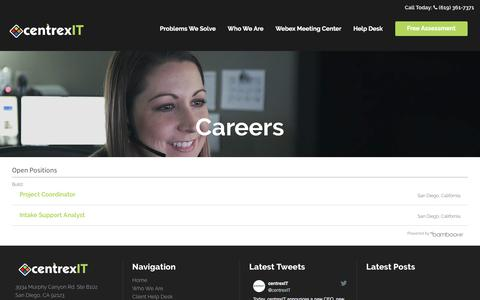 Screenshot of Jobs Page centrexit.com - Careers - captured May 4, 2018