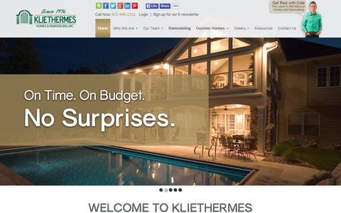 Screenshot of Home Page kliethermes.com - Custom Home Builder and Remodeler in Columbia, MO | Kliethermes - captured Oct. 7, 2015