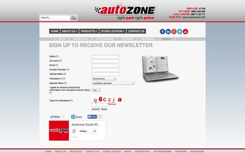 Screenshot of Signup Page autozone.co.za - Sign Up | Receive news and deals on auto parts and spares and more - captured Sept. 23, 2014