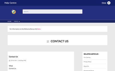 Screenshot of Contact Page galabingo.com - Contact Us - Gala Bingo - captured Jan. 18, 2018
