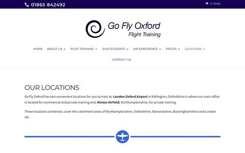 Screenshot of Locations Page goflyoxford.co.uk - Locations - Learn to fly with our flying lessons & pilot licence training - captured July 20, 2018