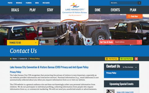 Screenshot of Privacy Page golakehavasu.com - Lake Havasu Privacy Policy - Lake Havasu City, AZ - captured Sept. 18, 2014