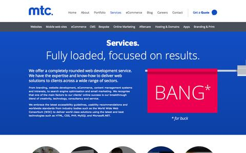 Screenshot of Services Page mtcmedia.co.uk - Services - mtc - captured Sept. 23, 2014