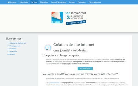 """Screenshot of Services Page croquis.be - CMS Joomla! - Webdesign - Création de sites web et e-commerce - boutiques en ligne avec Joomla! , Prestashop ou Hikashop - Illustrations - Formations // Agence Web """"Croquis"""" - Ivan Lammerant // [ Wépion - Namur ]  (Province de Namur - Wallonie - Belg - captured July 17, 2016"""