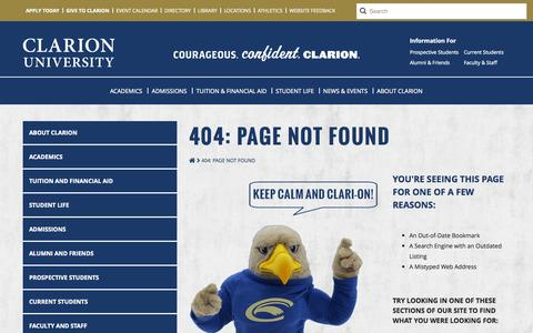 Screenshot of Contact Page 404 Page clarion.edu - 404: Page Not Found - captured Sept. 25, 2014