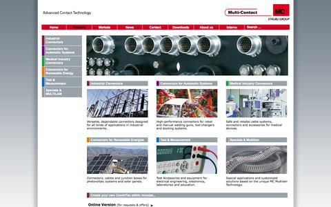 Screenshot of Products Page multi-contact.com - Multi-Contact AG - Products -  by Multi-Contact AG - captured Oct. 26, 2014