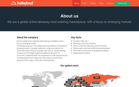 Screenshot of About Page hellofood.com - About | Food Delivery | Order Food Online | hellofood - captured Nov. 18, 2015