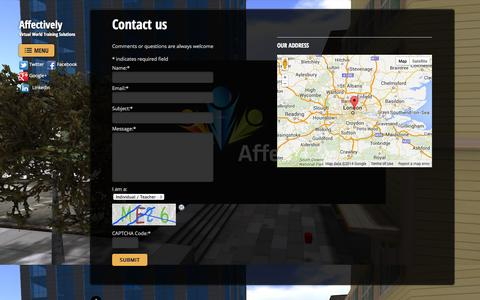 Screenshot of Contact Page affective.ly - Contact us - Affectively - captured Oct. 4, 2014